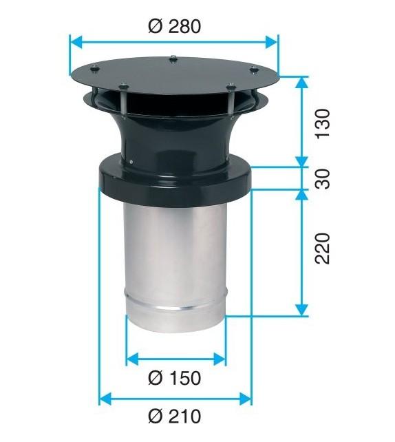 Ventilační komínek bez límce Ø150